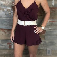 Take it In Burgundy Romper