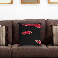 Akatsuki Red Cloud Pattern Pillow Cover , Custom Zippered Pillow Case One Side Two Sides