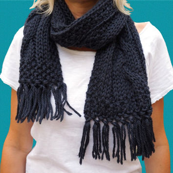 DARK BLUE SCARF, wool cable knit scarf, fringes scarf, pure wool, handmade in Italy .