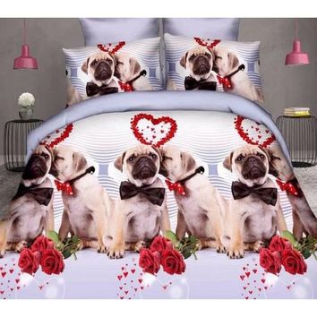 Home Textile Animal Series Mr&Mrs Dogs 3D Bedding Queen Bedding Set Cotton Bed Sheets Duvet Cover Quilt Cover 4PCS (Size: Queen,