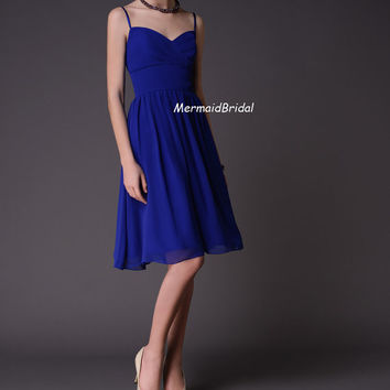 Royal Blue Dual Straps Short Chiffon Bridesmaid Dresses Evening Gowns Wedding Party Dresses Prom Dresses