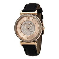 DCCKRQ5 Michael Kors Watches Catlin Leather Watch (Black)