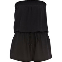 River Island Womens Black bandeau waisted romper