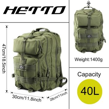 Hetto 40L Military Tactical Rucksack Durable Polyester Waterproof Army MOLLE Backpack Multifunctional for Outdoor Fishing Lure