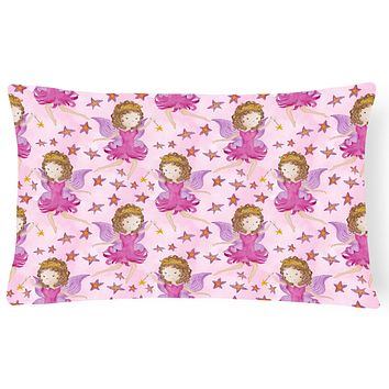 Watercolor Fairy Princess on Pink Canvas Fabric Decorative Pillow BB7547PW1216
