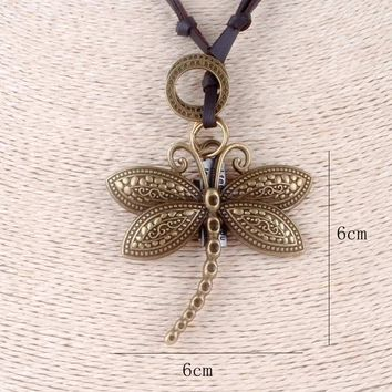 Vintage statement necklace cute dragonfly pendant choker jewelry lovely leather rope necklaces Insect pendants collares mujer