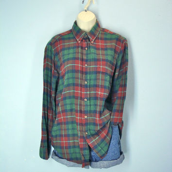 80s Flannel Shirt Washed Soft Green Rust Plaid Mens Woodland