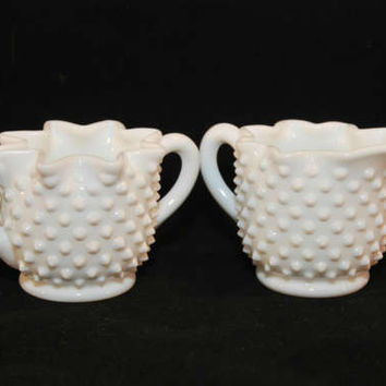 Vintage Fenton Art Glass White Milkglass  Hobnail Star Crimped Creamer and Sugar (c. 1967) Fenton Hobnail, Vintage Milkglass, Collectible