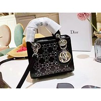 DIOR selling women's single-shoulder bag in pure color fashionable and casual shopping bag Black