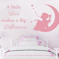 Wall Decal Quote A little Love makes a Big Difference Phrase Bedroom Kids C282