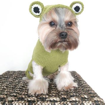 Knitted Dog Sweater Frog Dog Sweater Small Dog Sweater