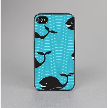 The Teal Smiling Black Whale Pattern Skin-Sert for the Apple iPhone 4-4s Skin-Sert Case