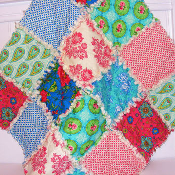 Security Blanket, Lovey Rag Quilt, Doll Quilt, Handmade, Summer House by Lily Asbury, 28 X 28  Ready To Ship