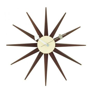 Modern Walnut & Aluminum Reproduction of George Nelson Sunburst Wall Clock