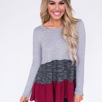 Grey/Burgundy Ruffle Hem Color Block