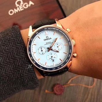 PEAP O009 Omega Seedmaster Chronometer Automatic Mechanical Leather Watchaband Watches Black Blue