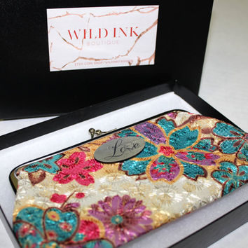 Women wallet, Pocket Pouch, Flower vintage wallet, Gift set, Coin pouch, Card wallet, Hang bag