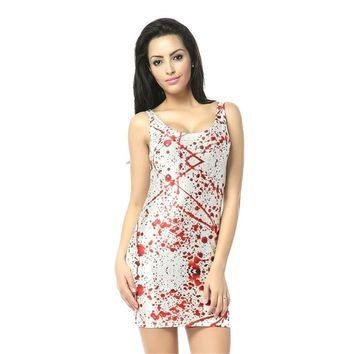 Dress Blood Splatter Dress Egyptian Tank Digital Print Sexy Mini Bodycon Women Summer Party Club Black Milk Clothing