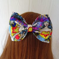 Wonder woman hair bow / wonderwoman hair bow clip / wonder woman bow / wonderwoman / comic book character / comic book bow / girl power