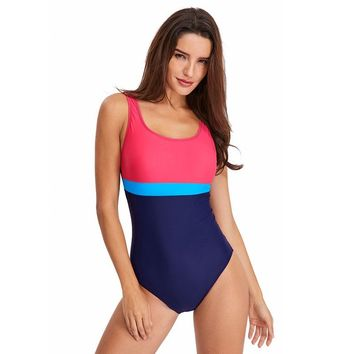 Women's Athletic One Piece Low Back Swimsuits Racing Training Sports Bathing Suit Chlorine Resistant Color Block Swimwear