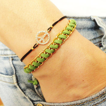 Peace sign bracelet set, hippie jewelry, hipster accessories, zircon rhinestone peace jewelry, green braided bracelet gift for girl birthday