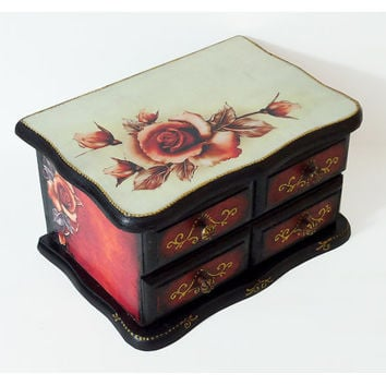 Hand Decorated Antique Style Jewelry Box / Shabby-chic Red Black Trinkets Box / Home Table Decoration Decoupage Roses by Elena Joliefleur