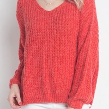 Cuddle Up Fuzzy Sweater - Red