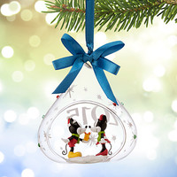 Mickey and Minnie Mouse Glass Drop Sketchbook Ornament 2015