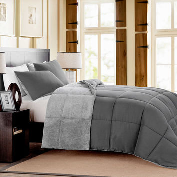 Mélange Fur Reversible Comforter Set