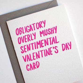 Valentine Card   Funny Valentine's Day Card   Letterpress Valentines Card   Obligatory Valentines Day Card