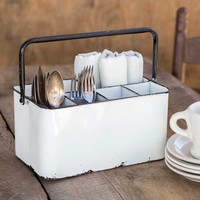 Rustic Primitive White Enamelware Cutlery Caddy Utensil Silverware Holder