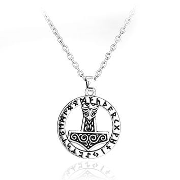 Tibetan Silver Plated Mjolnir Thor Hammer Knot Pendant Necklace Viking Norse Odin Jewelry For Men 2016
