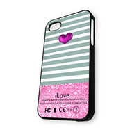 Apple Heart Sparkle pink iPhone 5C Case