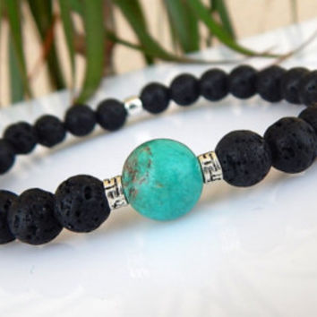 Men's Turquoise Bracelet, Men's Lava Bracelet, Men's Gemstone Bracelet, Gift for Men, Gift for Him