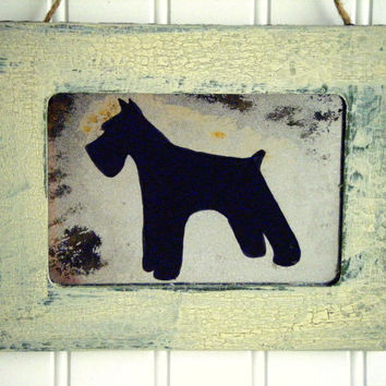 Rustic Schnauzer Country Rustic Distressed Green Wall Decor Antiqued Mirror Dog Pet Art Farmhouse Shabby Chic Cottage French Country
