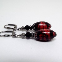 Black and Red Earrings, Oval Drop Beaded Dangle, Gunmetal Plated, Goth Jewelry, Made with Vintage Lucite Beads, Lever Back Hook