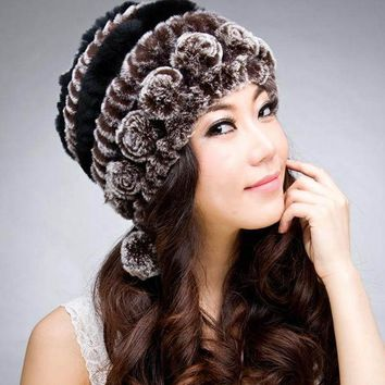 2016 New 100% Genuine Knitted Rex Rabbit Fur Hat Winter Lady Striped Caps Female Fashion Women Fur Beanies Hats
