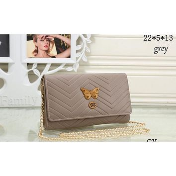 GUCCI 2018 New Butterfly Metal Premium Chain Bag F-MYJSY-BB Grey