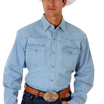 Roper Mens  Basic Solid Denim Basic Long Sleeve Shirt Snap Closure