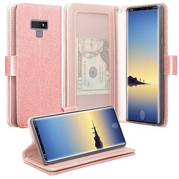 Samsung Galaxy Note 9, SM-N960U Case, [Wrist Strap] Glitter Faux Leather Flip [Kickstand Feature] Protective Wallet Case Cover Clutch - Rose Gold