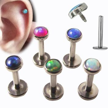 1Piece 16G surgical Stainless Steel internally thread piercing labret lip ring Opal Stone Tragus Ear Piercing Helix Body Jewelry