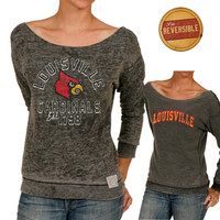 Louisville Cardinals Women's Raw Edge Burnout Reversible Boat Neck Sweatshirt