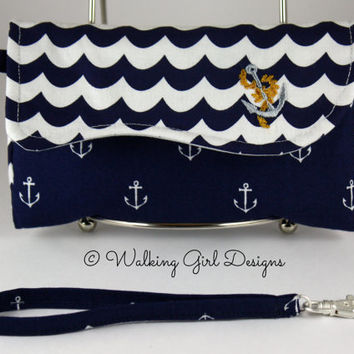 Nautical Phone Case Clutch, Wristlet, Smart Phone Clutch, Android phone case, IPhone phone case, Purse, Bag, Clutch Purse, Nautical Clutch