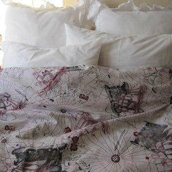 The Oldest World map print duvet cover QUEEN size - Grey red beige cream Book bedding