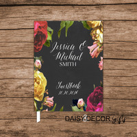 Custom guestbook, Guest Book, Wedding journal personalized wedding guestbook, Floral modern sign in personalized keepsakes wedding planner