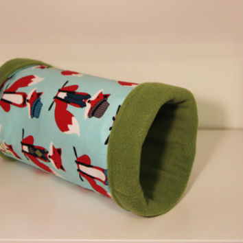 Hedgie Roll, Guinea Pig Tunnel, Ferret Tube - Hipster Foxes with Olive Fleece