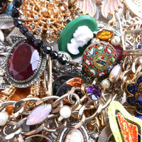 HUGE Lot of Vintage Costume Jewelry - Rings, Pins, Earrings, Necklaces, Bracelets... / OVER 4 Pounds Intact Destash Lot
