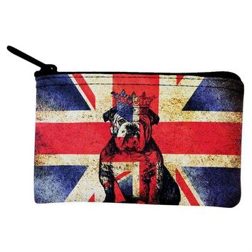 DCCKJY1 English British Bulldog Crown Grunge Flag Coin Purse