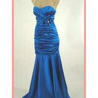 Strapless Blue Satin Ruched Mermaid Gown-Prom Dresses-Evening Gowns