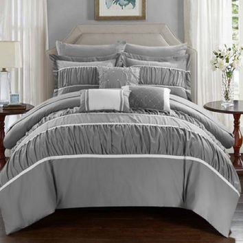 10 Pc Cheryl Pleated & Ruffled Comforter Set Grey With sheet set, Queen